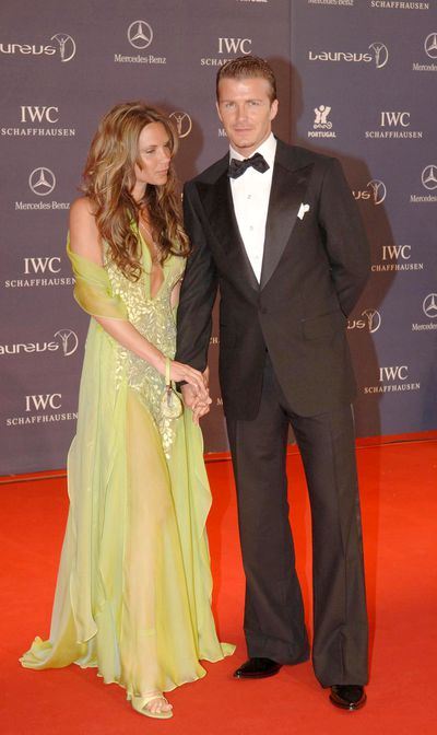 <p><strong>Red Carpet Rulers</strong></p> <p>Victoria&nbsp; and David Beckham during the 2005 Laureus Sports Awards in Estoril, Portugal.</p>
