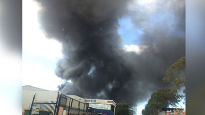 The business on Marigold street was fully alight, emitting thick black smoke which could be seen right across Sydney. (Tim Hunt)