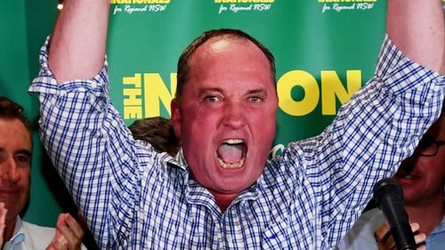 Barnaby Joyce celebrates his victory. (AAP)