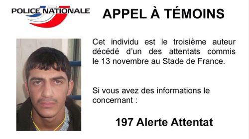 Paris police release photo of third Stade de France suicide bomber