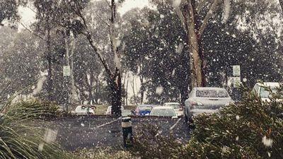 Snow fall in Orange, NSW.