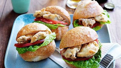 """Recipe:&nbsp;<a href=""""http://kitchen.nine.com.au/2016/05/16/14/42/oyster-poboys"""" target=""""_top"""">Oyster po'boys<br /> </a>"""