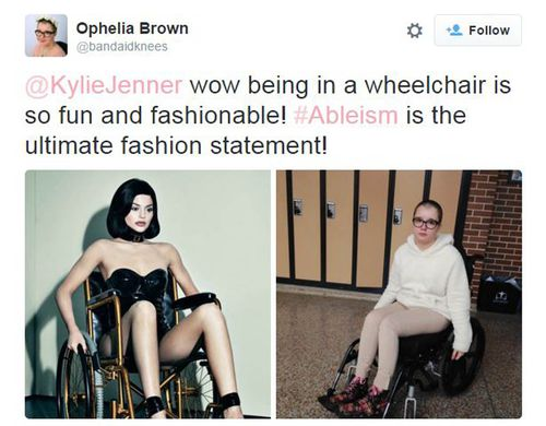 Ophelia Brown has called out Jenner for trivialising disabilities for fashion. (Twitter: @bandaidknees)