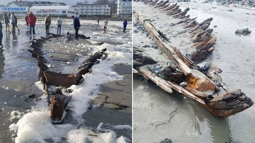 'Bomb cyclone' uncovers shipwreck from 1700s