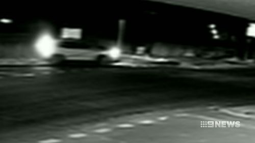 CCTV captured the moment the car hit the family who were waiting to cross the road.