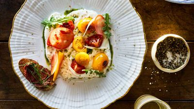 <strong>Sun Princess Share by Curtis Stone - tomato, burrata and arugula</strong>