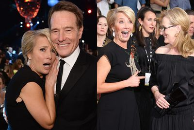 Not to be outdone, Emma Thompson pulled the best starstruck face at the SAGs with Breaking Bad's Bryan Cranston and awards-season goddess Meryl Streep!