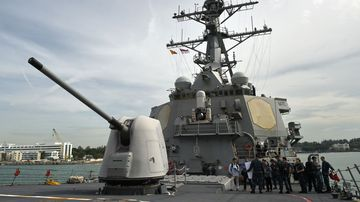The USS Stethem (DDG-63) missile destroyer has sailed close to a disputed island in the South China Sea. (AFP)