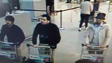 Ibrahim el-Bakraoui (left), a mystery suspect (centre) and a man identified by the Belgian media reports as Najim Laachraoui (right).