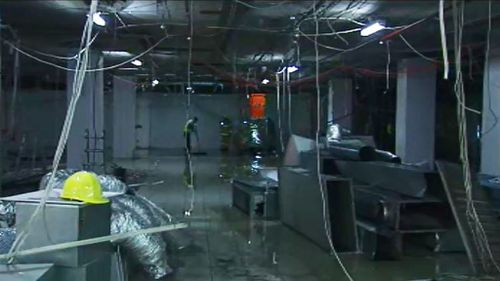 It's believed a construction worker clipped and burst the pipe. (9NEWS)