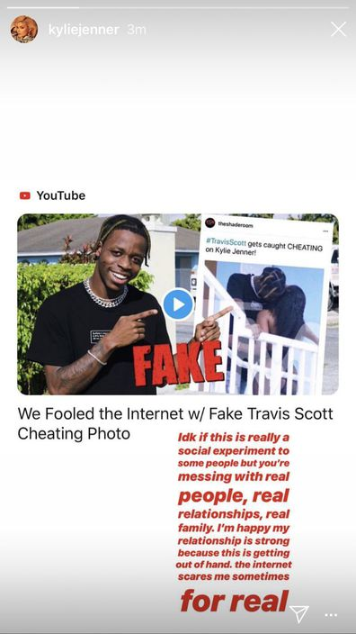 Kylie Jenner, Travis Scott, cheating scandal, fake photos, comment