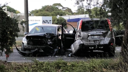 Grimsy and Wells rammed a police car with a stolen Nissan in January before crashing it head-on into another vehicle and then stealing two more cars, including Ms Hall's. Picture: 9NEWS.