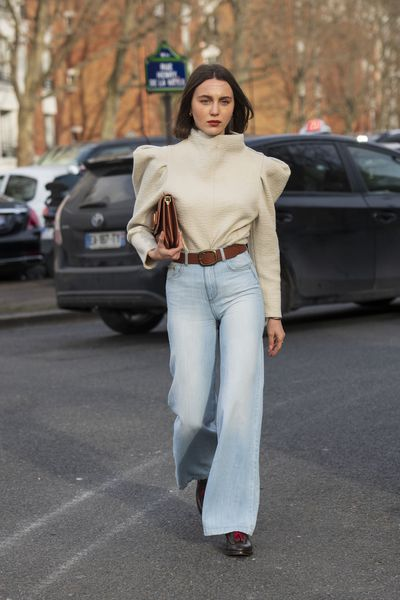 Wide leg jeans and '70s wash denim