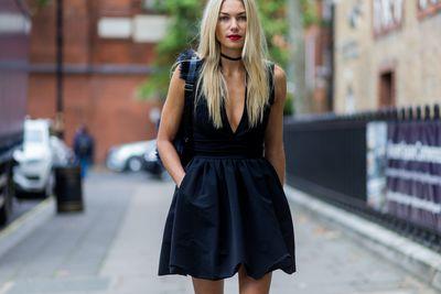 Jess Hart outside Anya Hindmarch, London Fashion Week