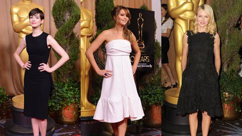 Hot or not? Anne Hathaway, Jennifer Lawrence and Naomi Watts' red-carpet looks at Oscar luncheon