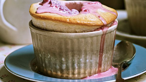 Anjum Anand's pomegranate soufflé with rose and raspberry cream