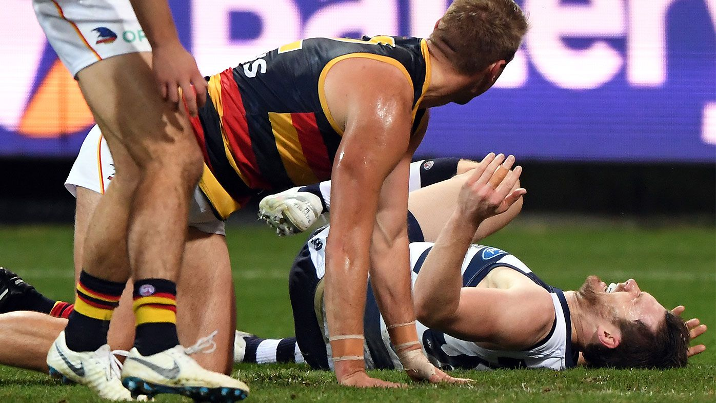 Geelong survives Patrick Dangerfield injury scare to maintain top spot on AFL ladder