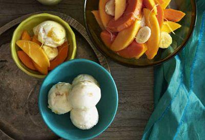 Mango yoghurt sorbet with tropical fruit
