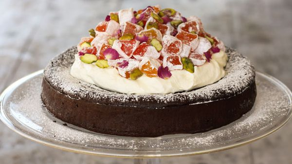 Turkish delight flourless chocolate cake