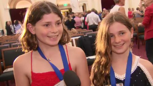 Richmond sisters Annabelle and Sophie Matthews were among the 14 Victorians honoured today. (9NEWS)