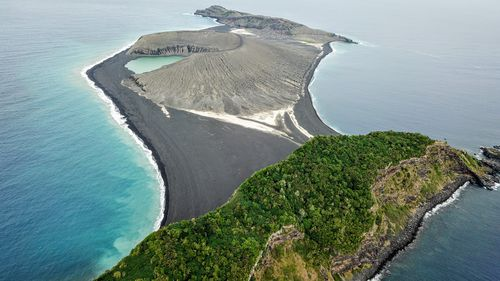 This island formed three years ago in the Southern Pacific Ocean. Picture: The Woods Hole Oceanographic Institution