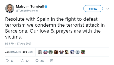 Prime Minister Malcolm Turnbull shared his sympathy with Spain.