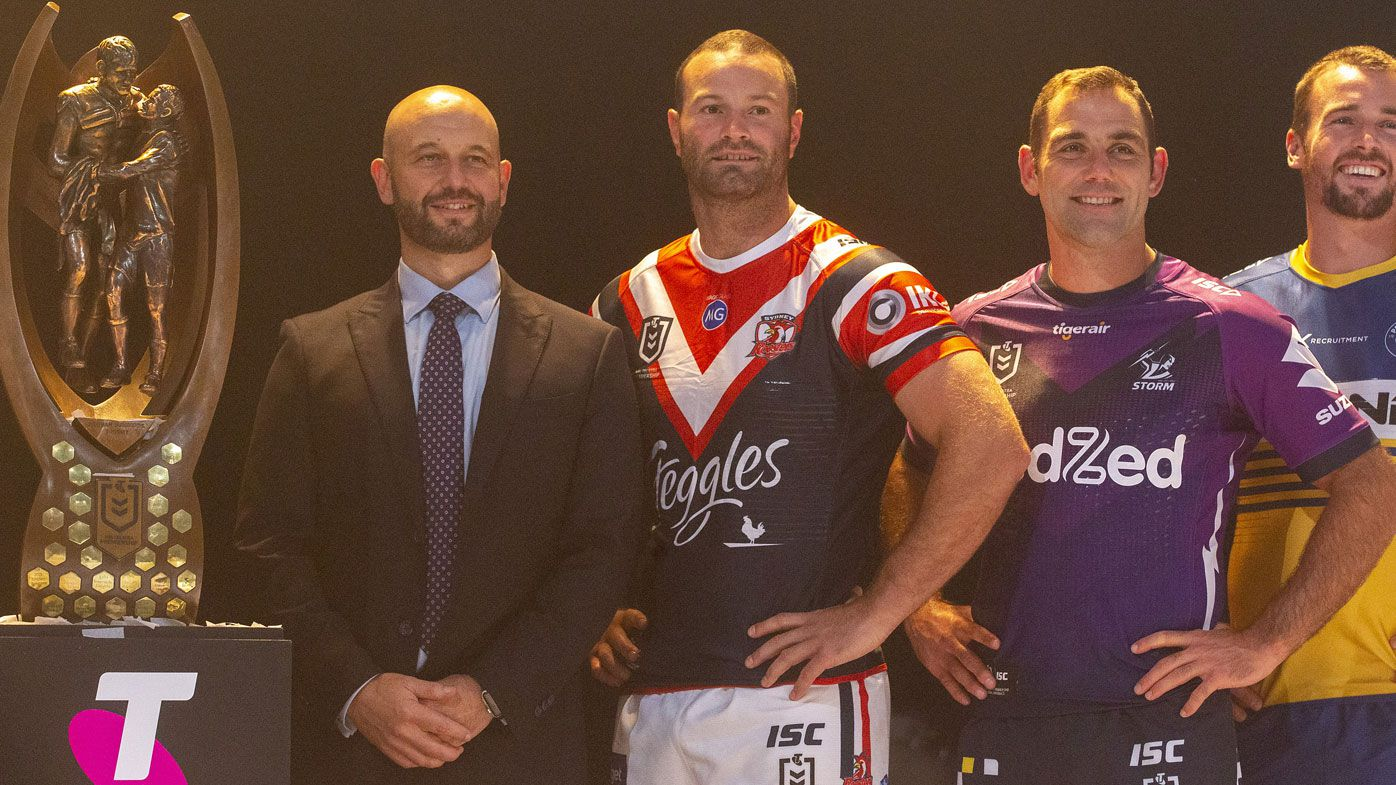 NRL Chief Executive Todd Greenberg is seen at a captains team photo with Boyd Cordner of the Sydney Roosters, Cameron Smith of the Melbourne Storm and Clint Gutherson of the Parramatta Eels during the 2020 NRL Season Launch
