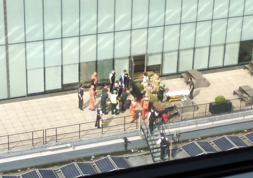 Emergency crews attend a scene at the Tate Modern art gallery, following the arrest of a 17-year-old male on suspicion of attempted murder after a six-year-old boy was thrown from the tenth floor viewing platform.