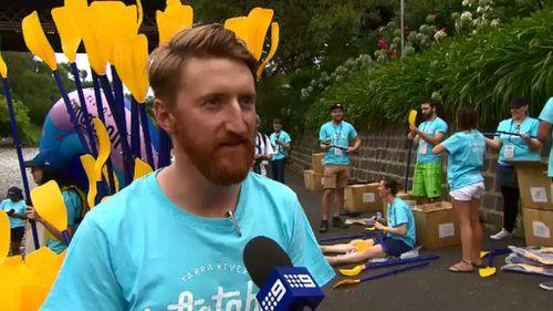 Event organiser Courtney Carthy said his idea for the Inflatable Regatta began eight years ago. (9NEWS)