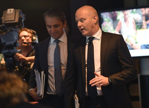Mr Comyn and the man he replaced, former CBA chief Ian Narev. Picture: AAP