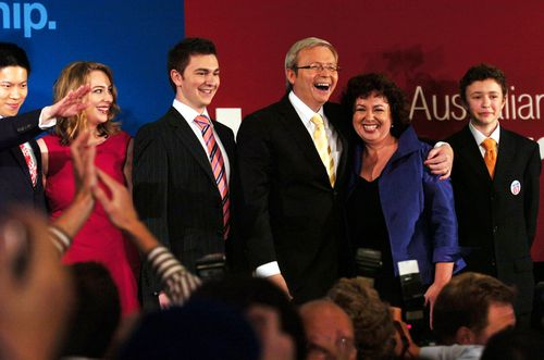 Labor Party Leader Kevin Rudd and wife Therese Rein with children (from left) Jessica, Nicholas and Marcuscelebrate election victory in 2007.