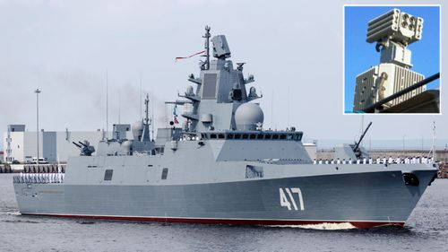 The Russian Navy frigate Admiral Gorshkov and, inset, the 5P-42 Filin – a futuristic dazzler-type device - fitted to the ship.
