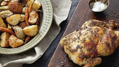 "Recipe: <a href=""http://kitchen.nine.com.au/2016/05/16/16/46/roast-chicken-with-tarragon-butter"" target=""_top"">Roast chicken with tarragon butter</a>"