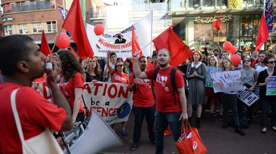 The rally making its way up Sydney's busy George Street and through the city's CBD.