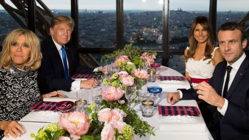 The two world leaders shared dinner before the parade with their wives.