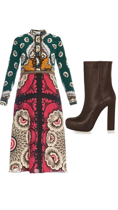 """<p>Dress: <a href=""""http://www.matchesfashion.com/au/products/Valentino-Patchwork-print-shirtdress-1010616#"""" target=""""_blank"""">Patchwork-print shirtdress, $5,120, Valentino</a></p><p>Boots: <a href=""""http://www.theoutnet.com/en-AU/product/Marni/Textured-leather-ankle-boots/547542"""" target=""""_blank"""">Textured-Leather Ankle Boots, $358, Marni</a></p>"""