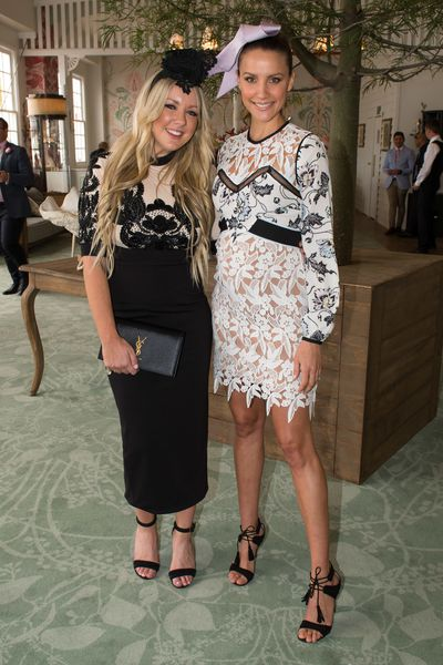 Lola Berry in Mariam Seddiq dress and Rachael Finch in the Emirates marquee.