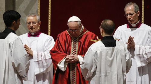 Pope Francis celebrates the Lord's Passion on Good Friday at Saint Peter's Basilica, Vatican City. (EPA)