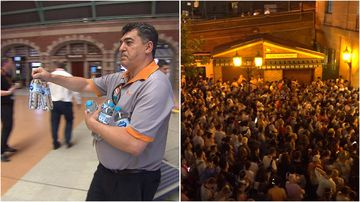 Transport staff spent the day handing out water to commuters braving the extreme heat on the trains.