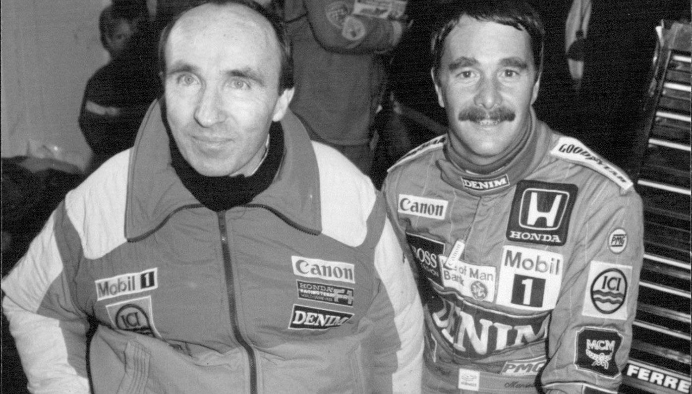 Team founder Sir Frank Williams with Nigel Mansell in 1986.