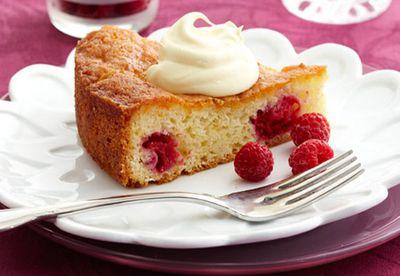 Raspberry and coconut teacake