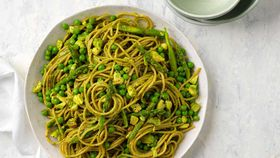 Pea, asparagus and avocado pesto spaghetti