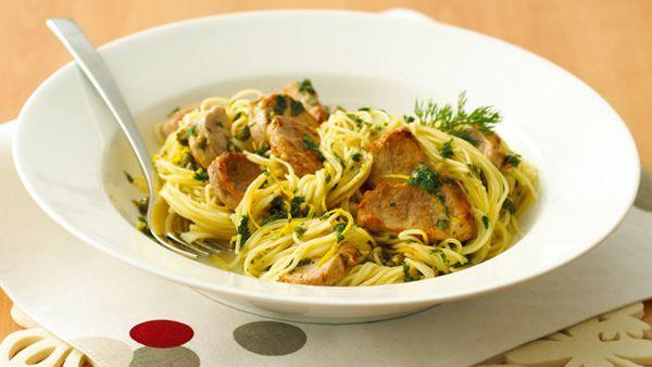 Angel hair pasta, pork and pesto
