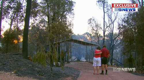 The fire in the Perth Hills destroyed nearly 60 homes. Picture: 9NEWS