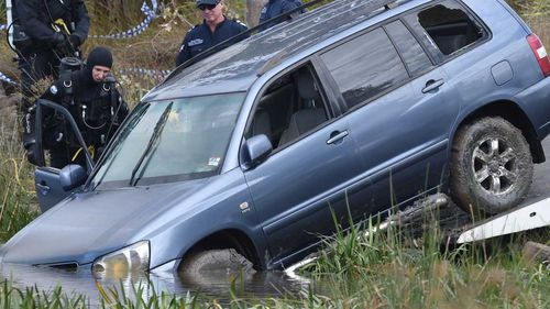 The 4WD being removed from Lake Gladman in Melbourne. (AAP)