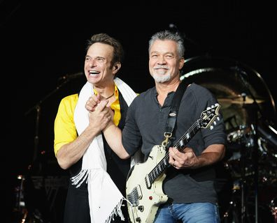 Van Halen, band, singer David Lee Roth, guitarist Eddie Van Halen, on stage, perform