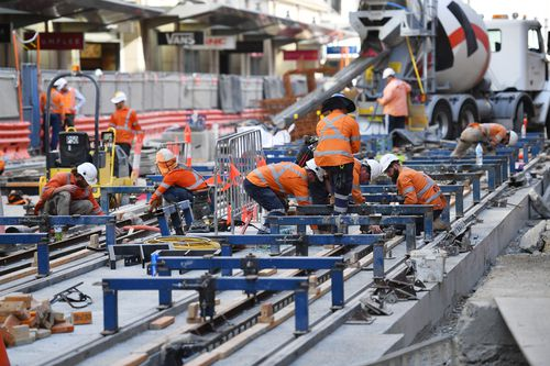 A familiar sight in Sydney's CBD of work being undertaken on the project, which the civil contractor is seeking an extra $1.1b for. Picture: AAP