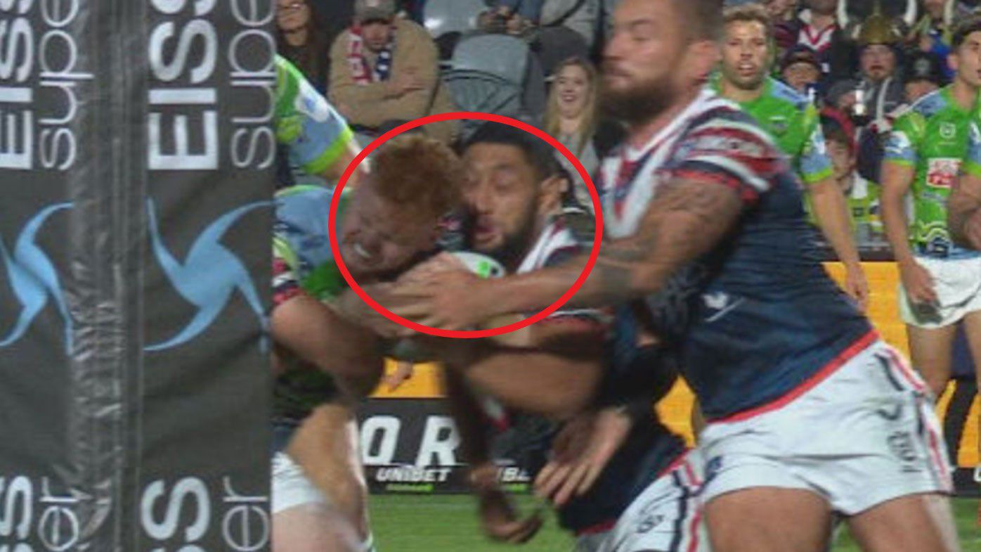Roosters forward Isaac Liu taken to hospital after horror head clash