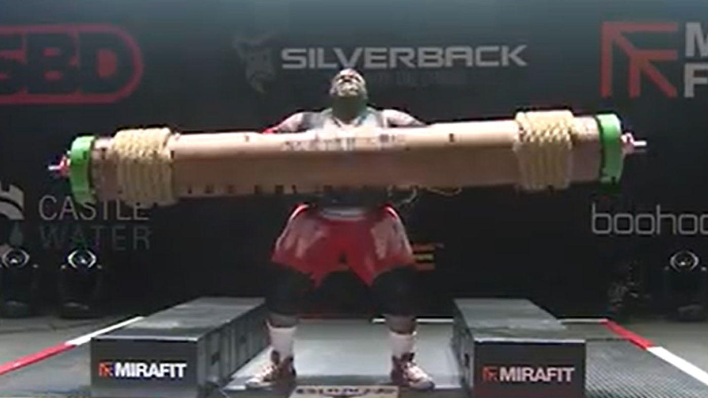Strongman's world record celebration stuns crowd