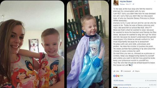 The remark prompted Ms Bazen to publish an open letter on Facebook. (Facebook/Haylee Bazen)